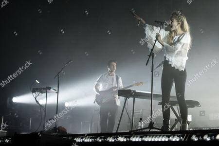 London Grammar performing on the John Peel stage.  Hannah Reid, Dan Rothman