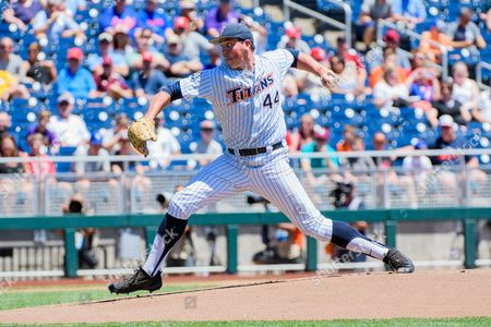 Omaha, NE U.S. - Cal State Fullerton starting pitcher John Gavin #44 throws a pitch during game 5 of the NCAA Men's College World Series between Florida State Seminoles vs Cal State Fullerton Titans at the TD Ameritrade Park in Omaha, NE..Attendance: 17,229.Florida State won