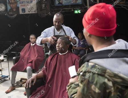 Editorial picture of 'Barber Shop Chronicles' Play performed in the Dorfmann Theatre at the Royal National Theatre, London, UK, 07 Jun 2017