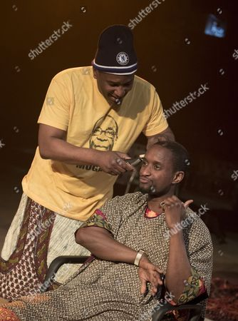 Editorial photo of 'Barber Shop Chronicles' Play performed in the Dorfmann Theatre at the Royal National Theatre, London, UK, 07 Jun 2017