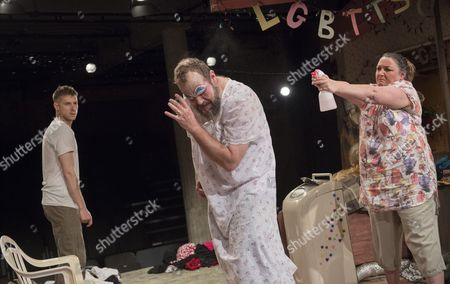 Stock Picture of Arhur Darvill as Isaac, Andy Williams as Arnold, Ashley McGuire as Paige,