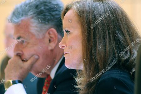 Rep. Peter King, left, and Rep. Kathleen Rice, listen to testimony of the House Subcommittee on Terrorism and Intellegence at a hearing on Tuesday, June, 20, 2017, at the U.S. District Courthouse in Central Islip, N.Y. The hearing focused on gang violence, particularly the MS-13 street gang which has been blamed for 19 killings on Long Island in the past 18 months