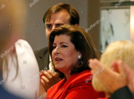 Republican candidate for Georgia's Sixth District Congressional Seat Karen Handel speaks to her staff before an election-night watch party, in Atlanta. Handel is in a hotly contested runoff with Democrat Jon Ossoff