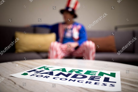 Peter Ludwinski sits before an election party for US House of Representatives candidate Karen Handel in Atlanta, Georgia, USA, 20 June 2017. Handel faces Democrat Jon Ossoff in the expensive and closely watched special runoff election to fill Georgia's 6th Congressional District seat previously held by Health and Human Services Secretary Tom Price, a Republican.
