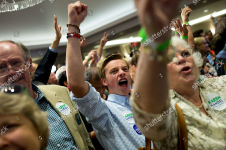 Supporters of US House of Representatives candidate Karen Handel cheer during an election party in Atlanta, Georgia, USA, 20 June 2017. Handel faces Democrat Jon Ossoff in the expensive and closely watched special runoff election to fill Georgia's 6th Congressional District seat previously held by Health and Human Services Secretary Tom Price, a Republican.