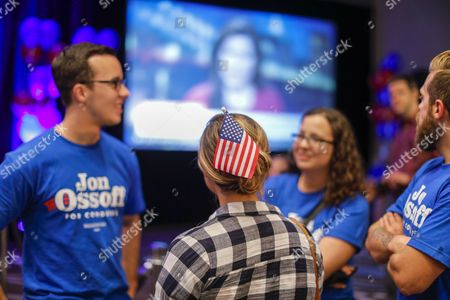 Supporters attend an election night party for Democratic US House of Representatives candidate Jon Ossoff in Atlanta, Georgia, USA, 20 June 2017. Ossoff faced Republican Karen Handel in the expensive and closely watched special runoff election to fill Georgia's 6th Congressional District seat previously held by Health and Human Services Secretary Tom Price, a Republican.