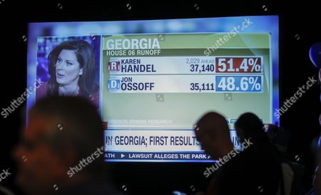 Early returns are shown on television as supporters attend an election night party for Democratic US House of Representatives candidate Jon Ossoff in Atlanta, Georgia, USA, 20 June 2017. Ossoff faced Republican Karen Handel in the expensive and closely watched special runoff election to fill Georgia's 6th Congressional District seat previously held by Health and Human Services Secretary Tom Price, a Republican.