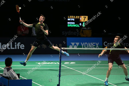 Stock Image of Jhe-Huei Lee and Yang Lee (Chinese Taipei) defeat Peter Briggs and Tom Wolfenden (England), 21-17, 21-15 In the Men's Doubles.