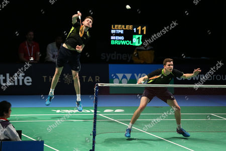 Stock Picture of Jhe-Huei Lee and Yang Lee (Chinese Taipei) defeat Peter Briggs and Tom Wolfenden (England), 21-17, 21-15 In the Men's Doubles.