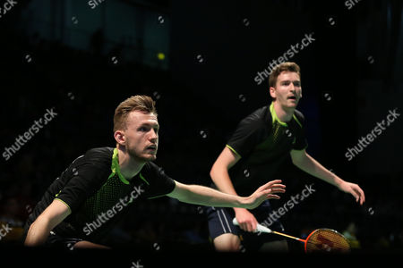 Stock Photo of Jhe-Huei Lee and Yang Lee (Chinese Taipei) defeat Peter Briggs and Tom Wolfenden (England), 21-17, 21-15 In the Men's Doubles.