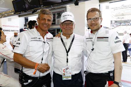 Fritz Enzinger (Leiter LMP1), Dr. Wolfgang Porsche (Aufsichtsratsvorsitzender der Porsche AG), Andreas Seidl (Teamchef Porsche Team) (l-r)  Motorsports: 24 Hours of Le Mans on June, 2017