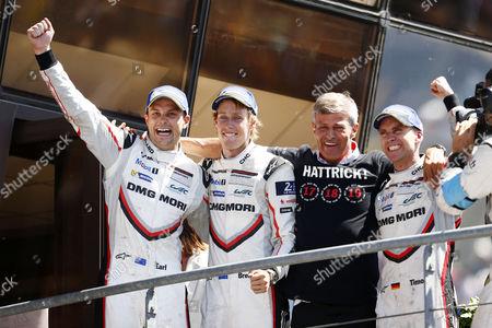 Porsche LMP Team: Earl Bamber, Brendon Hartley, Fritz Enzinger (Leiter LMP1), Timo Bernhard (l-r)  Motorsports: 24 Hours of Le Mans on June, 2017