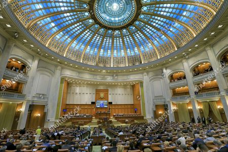 Romanian lawmakers of both parliament chambers debate before procceding to a no-confidence vote against Grindeanu cabinet, at Parlament Palace in Buchares, Romania, 21 June 2017. Sorin Grindeanu cabinet was ousted by a no-confidence vote in which 241 lawmakers from a total of 251 voted against his government. The ruling party PSD (Social Democracy Party) withdrew political support for Grindeanu governemnt on 14 June, after six months activity. PSD leader Liviu Dragnea stated that Sorin Grindeanu and his team had failed to respect the party's governing program, and he does not have the party's support. Grindeanu defended his cabinet announcing he will not resign unless PSD party leader Liviu Dragnea resign.
