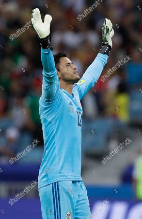 Mexico goalkeeper Alfredo Talavera celebrates after Mexico's Oribe Peralta scored during the Confederations Cup, Group A soccer match between Mexico and New Zealand, at the Fisht Stadium in Sochi, Russia