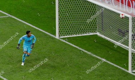 Mexico goalkeeper Alfredo Talavera looks the ball during the Confederations Cup, Group A soccer match between Mexico and New Zealand, at the Fisht Stadium in Sochi, Russia