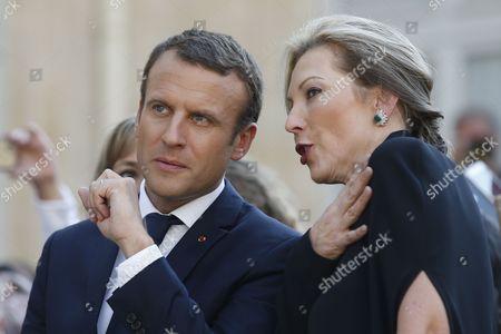 Stock Photo of Emmanuel Macron and Maria Clemencia Rodriguez de Santos