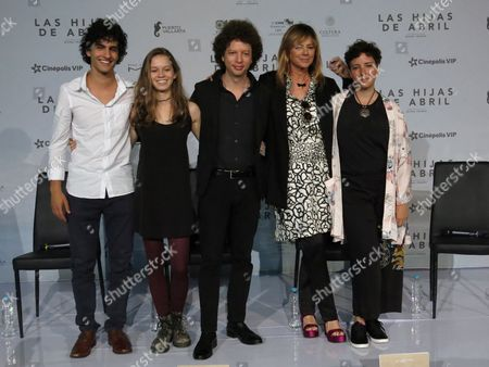 """Stock Image of The cast and director of the Mexican film """"Las hijas de Abril"""" pose during a press conference in Mexico City. From left, Mexican actors Enrique Arrizon and Valeria Becerril, director Michel Franco, Spanish actress Emma Suarez and Mexican actress Joanna Larequi. The film won the jury prix of the section Un Certain Regard at Cannes Film Festival and will premiere in Mexico on June 23, 2017"""