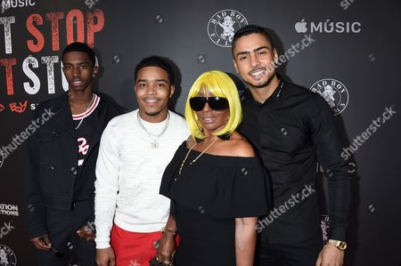Janice Combs with Sean Combs Sons Christian, Quincy and Justin