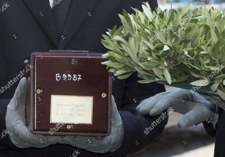 Stock Image of The urn containing ashes of Candido Speroni, the husband of Carla Fendi, arrive at the Artists' Church in Rome, Italy, 22 June 2017. Italian fashion designer Carla Fendi died on 19 June in Rome at the age of 80 after a long illness.