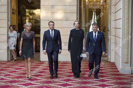 Maria Clemencia Rodriguez Munera, Juan Manuel Santos, Emmanuel Macron and his wife Brigitte.