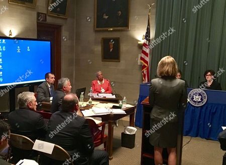 Stock Image of Carl Paladino, far left, listens while Buffalo Board of Education President Barbara Nevergold testifies at a hearing before New York Education Commissioner MaryEllen Elia, far right, in, Albany, N.Y., to determine if Paladino should be removed from the school board