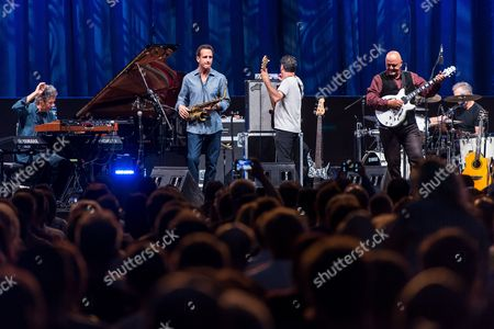 Stock Photo of (L-R) US jazz pianist Chick Corea, saxophonist Eric Marienthal, bassist John Patitucci, guitarist Frank Gambale and drummer Dave Weckl of Chick Corea Elektric Band performs at the Orbita Hall in Wroclaw, Poland, 22 June 2017. The concert was held on the occasion of the 10th anniversary of the Ethno Jazz Festival.