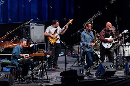 (L-R) US jazz pianist Chick Corea, bassist John Patitucci, saxophonist Eric Marienthal, guitarist Frank Gambale and drummer Dave Weckl of Chick Corea Elektric Band performs at the Orbita Hall in Wroclaw, Poland, 22 June 2017. The concert was held on the occasion of the 10th anniversary of the Ethno Jazz Festival.