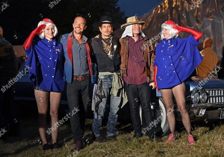 Johnny Depp introducing his film 'The Libertine' at the 'Cineramageddon' drive-in, accompanied by Julian Temple and Joe Rush (founder of the Mutoid Waste Company)