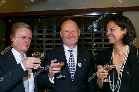 Laurent Pic Ambassador of France toasts with UniFrance President Jean-Paul Salome and UniFrance General director Isabelle Giordano