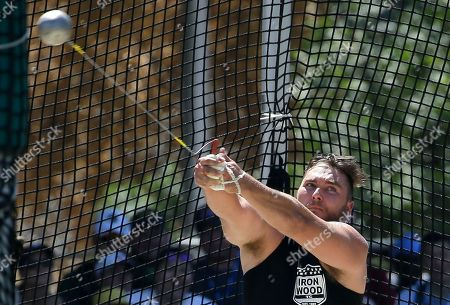 Sean Donnelly winds up during the men's hammer throw at the U.S. Track and Field Championships, in Sacramento, Calif. Donnelly placed third in the event