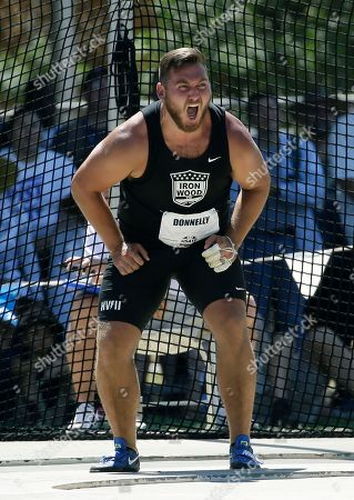 Sean Donnelly reacts to a throw in the men's hammer throw at the U.S. Track and Field Championships, in Sacramento, Calif. Donnelly placed third in the event