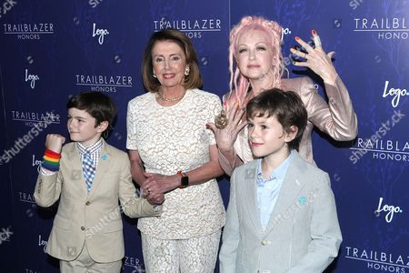 Nancy Pelosi and Cyndi Lauper with Thomas Vos, Paul Vos
