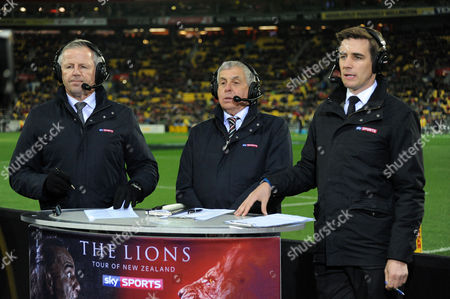Stock Image of (L to R) Sean Fitzpatrick - ex All Black captain, Ian McGeechan - British & Irish Lions coach  and Alex Payne - Sky sports presenter.