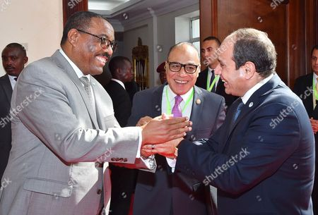 Prime Minister of Ethiopia Hailemariam Desalegn (L) and Egyptian President Abdel Fattah al-Sisi (R)