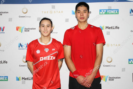 Lu Ching Yao and Yang Po Han (Chinese Taipei) pose on the media wall after winning the Men?s Doubles 21-16, 21-18 against CHOI Solgyu and KIM Dukyoung (Korea).