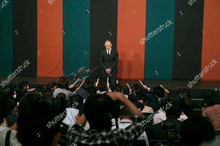 Ichikawa Ebizo XI speaks during a news conference
