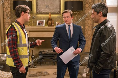 Finn Barton, as played by Joe Gill, gets a job at Home Farm. Lachlan White, as played by Thomas Atkinson, enjoys the authority but ends up firing Finn when he tries to help him. (Ep 7876 - Thur 13 July 2017)