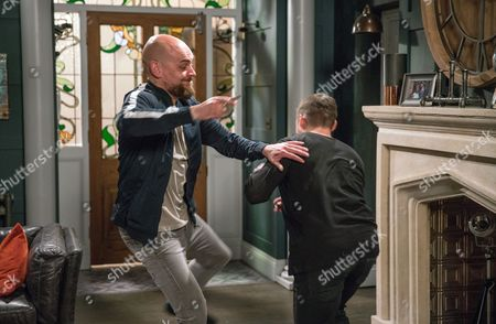 Desperate for spice, Aaron Dingle, as played by Danny Miller, calls Ethan but gets more than he bargains for when Jason, as played by Samuel Edward-Cook, arrives too. A fight ensues between them but will Cain arrive in time to help Aaron? (Ep 7873 - Tue 11 July 2017)