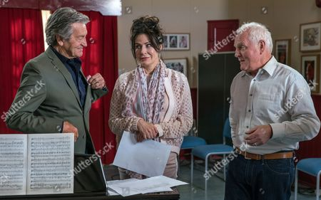 Faith Dingle, as played by Sally Dexter, successfully makes Pollard, as played by Chris Chittell, jealous by flirting with Rodney Blackstock, as played by Patrick Mower. (Ep 7864 - Fri 30 Jun 2017)