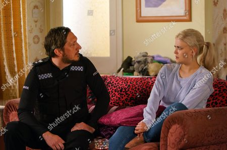 Sarah arrives home with Neil, as played by Ben Cartwright, in tow and explains to Bethany Platt, as played by Lucy Fallon, that he's kindly agreed to have a chat with her. Bethany does her best to mask her fear. (Ep 9204 - Mon 10 July 2017).