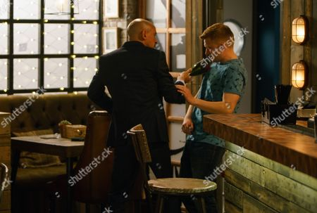 The Bistro is in chaos as a clearly wired Rich, as played by Fraser Ayres, is demanding Robert Preston, as played by Tristan Gemmill, launder his drugs money or he will reveal Robert's past to Michelle. Rich grabs a broken bottle as Chesney Brown, as played by Sam Aston, enters the bistro. Rich swings the bottle, slashing Chesney who collapses to the ground clutching his stab wound! (Ep 9198 - Mon 3 July 2017).