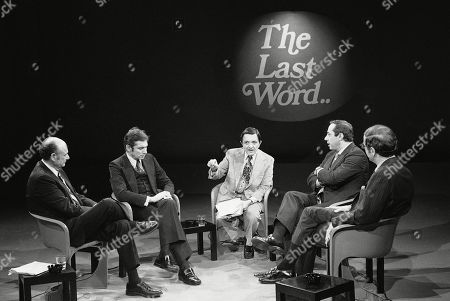 Stock Picture of FILE--This photo from Nov. 8, 1977 shows reporter Gabe Pressman, center, hosting a televised New York mayoral debate with candidates Edward Koch, far left, Barry Farber, second from left, Mario Cuomo, second from right, and Roy Goodman. Pressman, an intrepid, Emmy-winning journalist who still relished going to work at the age of 93, died early at a Manhattan hospital