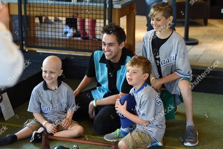 Blake Vogt with patients at Children's Mercy Hospital