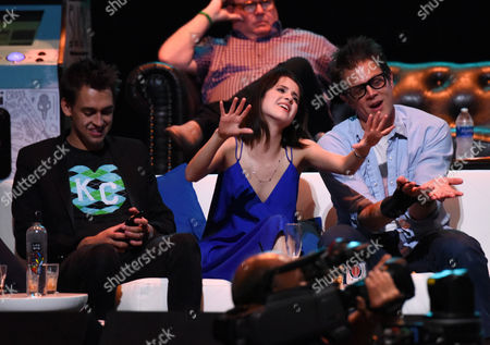 Blake Vogt, Laura Marano and Johnny Knoxville