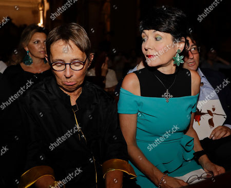 Elisabetta Sgarbi, right, is flanked by writer Susanna Tamaro at the San Marco church, during La Milanesiana cultural event, in Milan, Italy