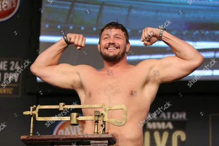 Matt Mitrione is seen during a weigh-in before Bellator 180, in New York
