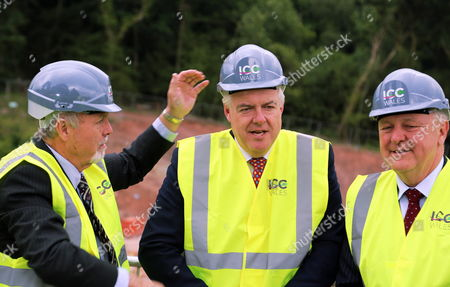 Stock Photo of Sir Terry Matthews, Carwyn Jones and Stephen Bowcott.