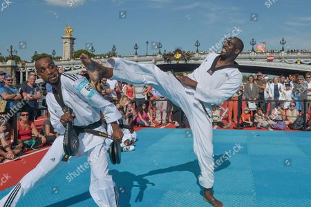 Stock Picture of Demonstration of Taekwondo with Pascal Gentil during the celebration of Olympic Day