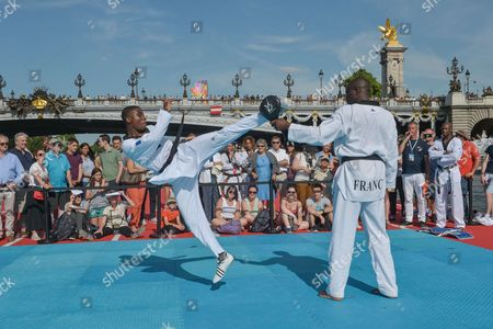 Stock Photo of Demonstration of Taekwondo with Pascal Gentil during the celebration of Olympic Day