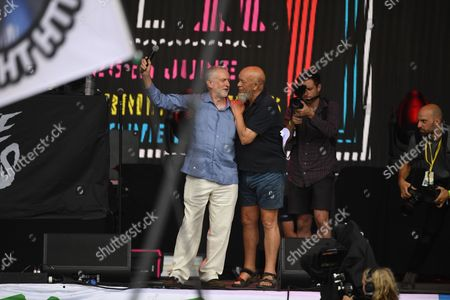 Jeremy Corbyn and Michael Eavis on the Pyramid Stage